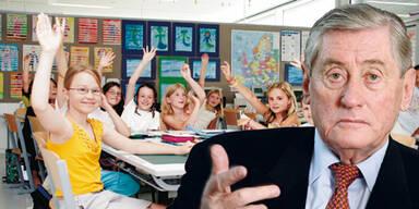 Hannes Androsch vor Schulklasse (Montage)