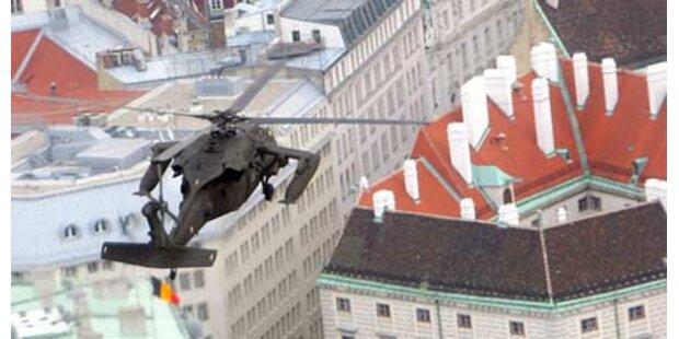 Helikopter landen am Heldenplatz