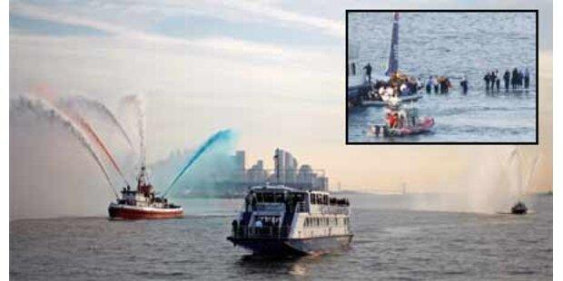 Passagiere feiern Hudson-Wunder