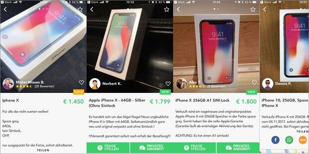 iPhone X bei Shpock vergleichsweise günstig