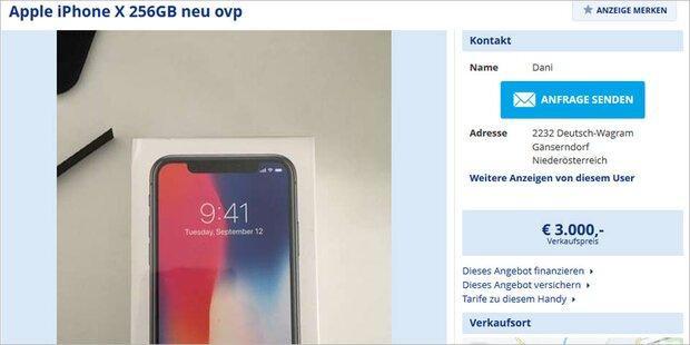 iPhone X auf willhaben.at: 1.299 bis 3.000 Euro