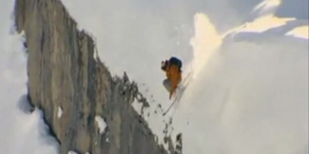 Freeskier sprang 78 m Klippe hinunter