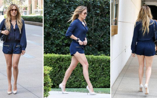 Jennifer Lopez im Blaumann