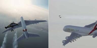 Jetpack-Männer im Duell mit Airbus 380
