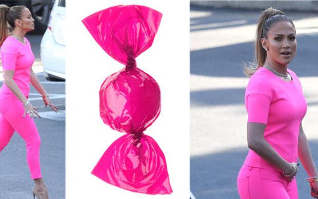 J.Lo's neonpinkes Trash-Styling