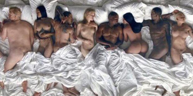 Kanye im Bett mit Kim, Taylor und Trump