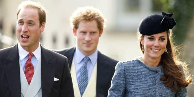 Kate & Will strahlen bei Hochzeit von Freunden
