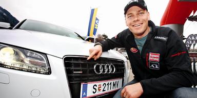 Michael Walchhofer mit dem Audi A5 Sprotback in Kitz. Bild: ÖSTERREICH/Kernmayer
