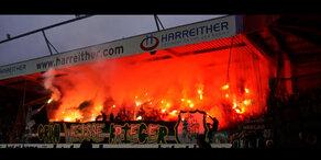 PYRO-Feuerwerk beim Rapid-Derby