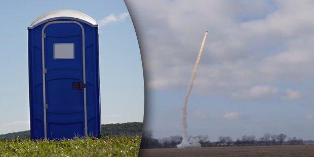 Raketen-Freaks schießen Dixi-Klo ab