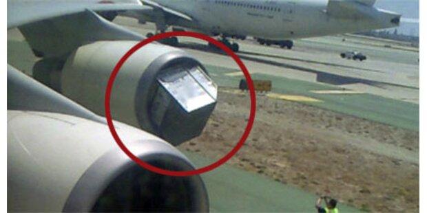 Jettriebwerk saugt Koffercontainer an