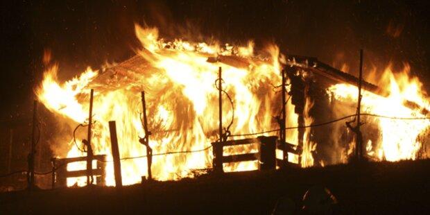 Gartenhütte geht in Flammen auf