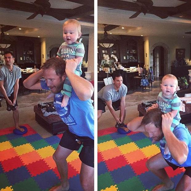Bode Miller trainiert mit Baby