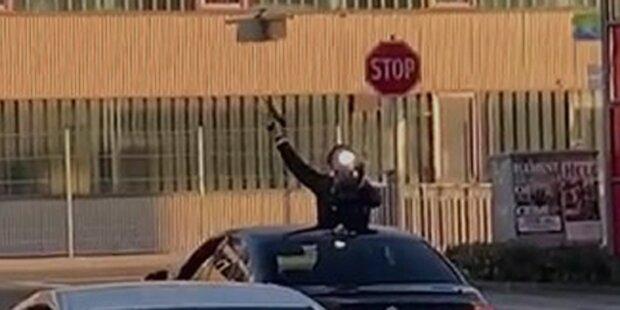 Teenie schießt bei Hochzeits-Feier aus Auto