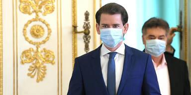 kurz und kogler bei einer pressekonferenz mit maske