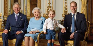 Royale Briefmarke mit Queen Elizabeth, Prinz George, Prinz William, Prinz Charles