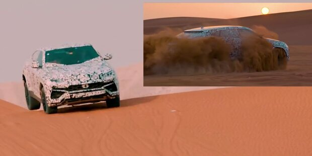 Lamborghini-SUV rast durch die Wüste