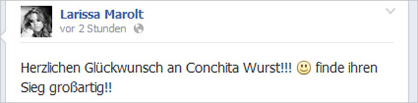 Larissa Marolt gratuliert Conchita Wurst auf Facebook