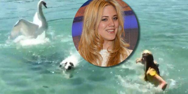 Larissa Marolt rettet ihren Hund vor Schwan
