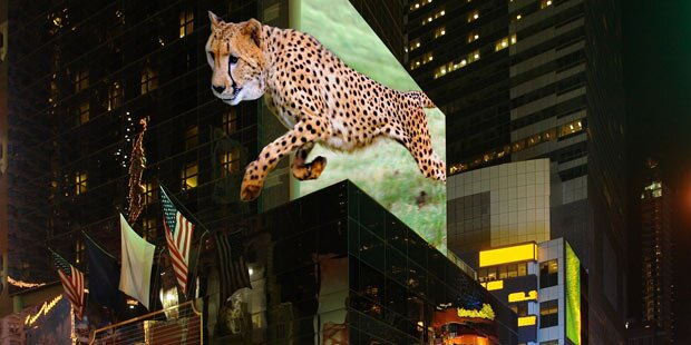 Riesige 3D-Outdoor-Displays dank Laser