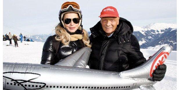 Lauda flog VIPs in den Schnee