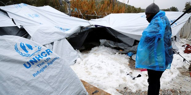 Kälte: Griechen schicken Hilfe nach Lesbos