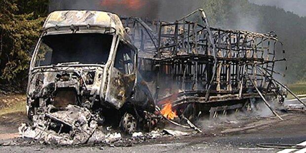 Lkw fängt Feuer: Waldbrand-Alarm