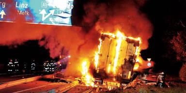 Flammen und Schüsse auf der A1