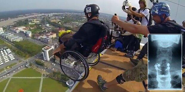 Das ist der erste Rollstuhl-Basejumper