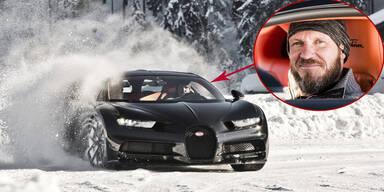 Hermann Maier driftet mit 1.500-PS-Bugatti
