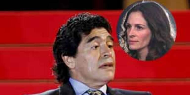 Diego Maradona steht auf Julia Roberts