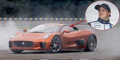 Massa rast mit Waltz' Bond-Jaguar