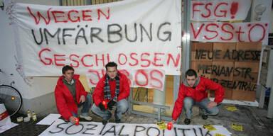 Zugemauert: Die SPÖ-Parteizentrale in Salzburg konnte am Donnerstag Früh nicht betreten werden.(c)APA/FRANZ NEUMAYR
