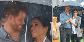 Meghan & Harry kuscheln im Regen