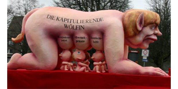 Wirbel um nackte Merkel als säugende Wölfin