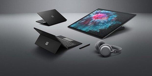 Surface Pro 6, Laptop 2 und Kopfhörer