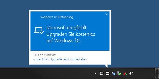 Strafe für Windows 10 Upgrade-Zwang