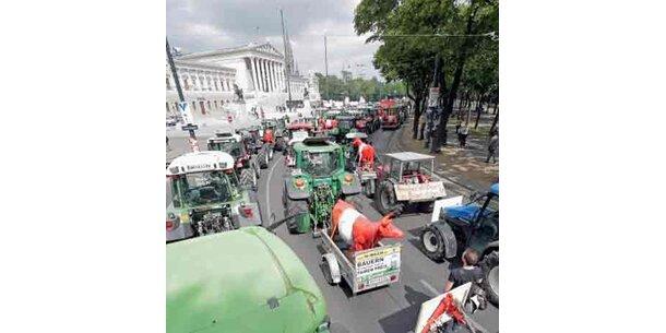 Bauern legten Wiener Ringstraße lahm