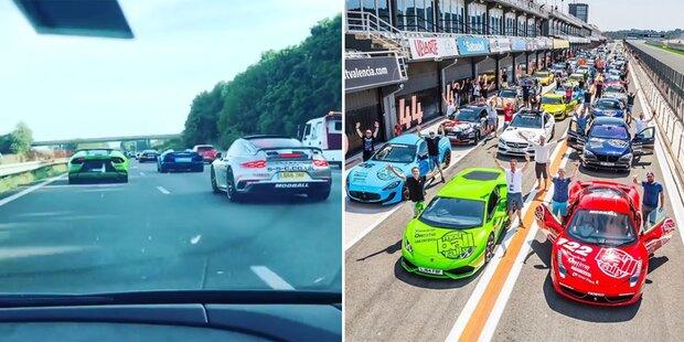 Luxusauto-Rallye im Anflug auf Wien
