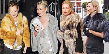 Kate Moss Pelz Paris Fashion Week