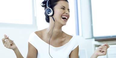 Musik, Kopfhörer, Stimmung, lachen, hören