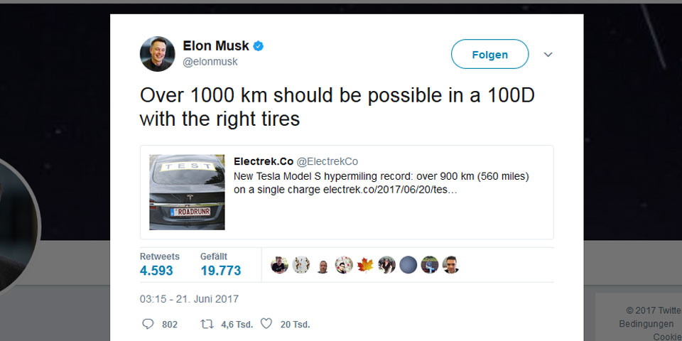 Tesla Twitter: Tesla Model S: 900 Km Mit Einer Akkuladung