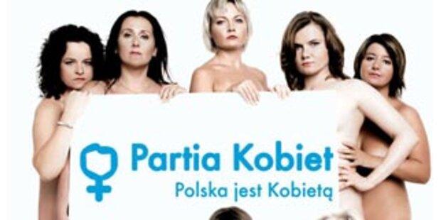 Polnische Frauenpartei mit Nackt-Werbung
