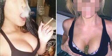 Nackte Frauen posten Marihuana-Fotos