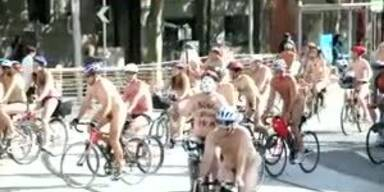 Nackt-Radeln als Umwelt-Protest