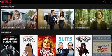 Screenshots zeigen Netflix-Programm