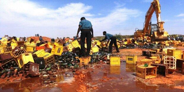 Polizei vernichtet 240.000 Flaschen Bier
