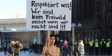 Nackt-Protest gegen Sex-Attacken in Köln