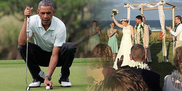 Golfer Obama verjagt Hochzeits-Paar