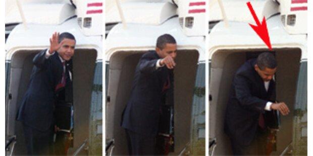 Obama haut sich Kopf am Präsi-Heli an